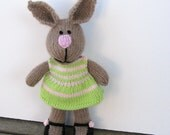 Bunny Doll - Easter Basket - Knit Rabbit Toy - Easter Bunny - Knit Stuff Bunny - Plush Doll - Baby Alpaca Yarn - Kids Toy - Child Toy Maisy