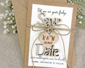 Custom Save The Date Magnet, Save The Date Magnet, Rustic Wedding Favor, Personalised Wooden Wedding Gift,  Bridal Shower Favor, Peach