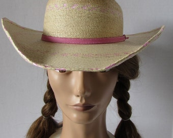 Girls Medium Hat Country Western Cowboy Girls Pink Band adjustable straw Rodeo costume small