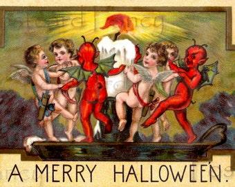 RARE HALLOWEEN Antique  Postcard, Angels and DEVILS dancing, Instant Digital Download
