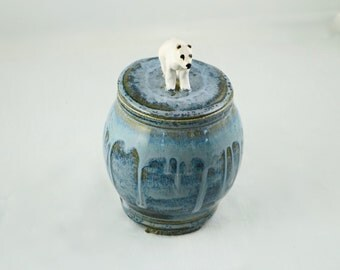 Pottery Storage Jar with Polar Bear knob Blue Gray - hand-thrown stoneware pottery, storage jar, home decor, urn, housewares