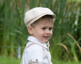 Boy newsboy hat baby boy linen newsboy hat ring bearer first birthday baptism cap boy photo prop rustic wedding newsboy hat light beige