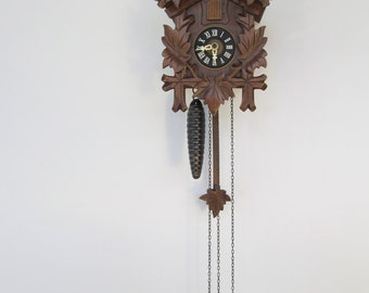 Vintage August Schwer German Black Forest Cuckoo Clock Hand Carved Wooden Small size Cuckoo Wall Clock in Dark Brown color