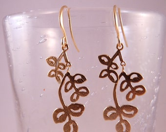 Matte Gold Platted Branches Earrings Autumn Leaves Dangle Earrings (106)