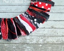 Minnie Mouse Birthday Banner Minnie Mouse Highchair Banner Birthday Bunting Fabric Banner Ribbon Banner Birthday Garland Black Red Polka Dot
