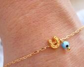 Horseshoe Bracelet - Turquoise Evil Eye Bracelet - Matte Gold Horseshoe Bracelet - Lucky Charm Bracelet - Bridesmaid Gift  (Also in Silver)