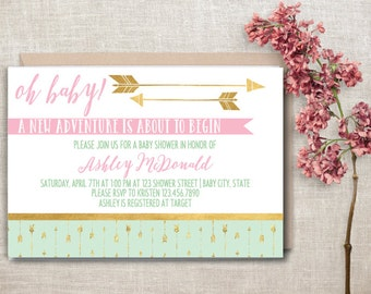 Arrow Baby Shower Invitation, Mint and Gold Baby Shower Invite, Adventure Baby Shower