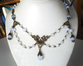 Opal Bridal Necklace Vintage Wedding Necklace White Victorian Necklace Rustic Romantic Jewelry