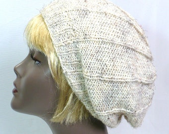 Fisherman White Tam: Hand Knit Beanie, Slouchy Tam, Winter Wheat Beret, Handmade Hat, White Tweed Tam, Handmade Hat, Ready to Ship