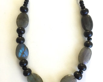 Irridescent Kyanite and Black Necklace, Edgy,