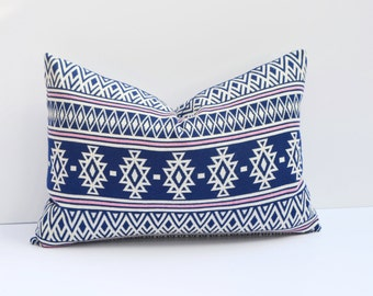 Native Tribal Aztec Pattern Blue Pillow Cover Navy Blue, Pink, Ivory, Cotton Blend,14 x 24, 18 x 18, 12 x 16, Many Sizes Available