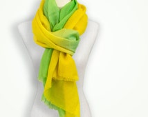 Yellow & lime green ombre hand dyed kashmiri shawl, 7 year anniversary, cashmere bridal shawl, gift for niece, travel clothes, wedding favor