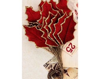 HOLLY LEAVES - Prima Victorian Christmas  - Velvet Holly Leaves - Christmas Holly Leaves - Christmas Embellishments -Red Velvet Leaves