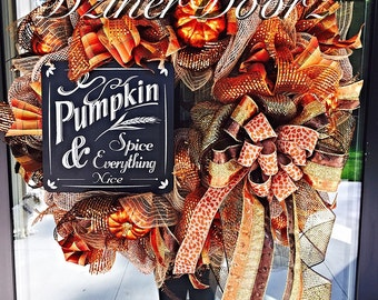 Fall Thanksgiving deco mesh Wreath