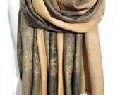 Gold Scarf. Birthday Gift for Her. Soft Scarf. Smooth Winter Shawl, Pashmina Scarf. Peach Brown Shawl. Echarpe Foulard. 27x71in Ready2Ship
