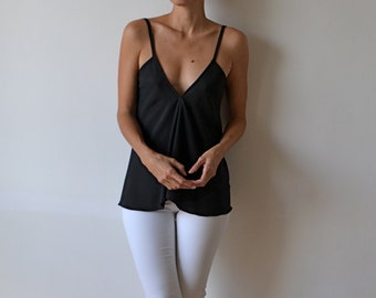 Women's black silk top. Backless top. Black camisole, singlet, tank. Bias cut top, strappy silk top.