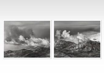 Mountain art prints, Set of 2 black and white art posters, Rocky Mountains landscape photography, large art nature print set, 20x20, 16x20