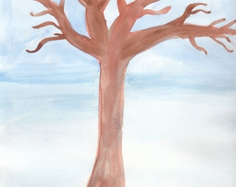 Watercolor Tree Giclee Print, with Mat