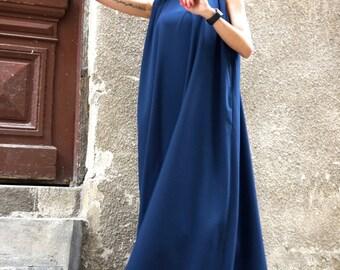 NEW  Maxi Dress / Navy Blue Kaftan / Extravagant Long  Dress / Party Dress / Daywear Dress with side pockets by AAKASHA A03370