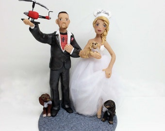 Personalized Custom Wedding Cake Topper Bride and Groom and Pets with Helicopter Props