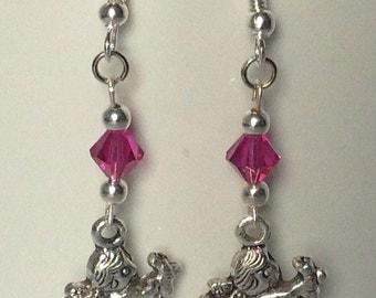 Angel Earrings with Pink Swarovski Crystals