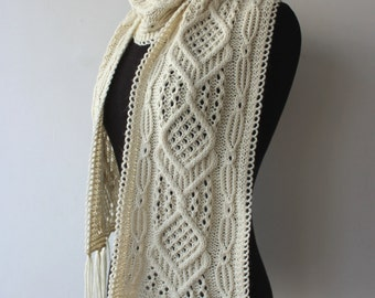 10% OFF - Light Cream Scarf with Cable and Lace pattern, handknit winter scarf