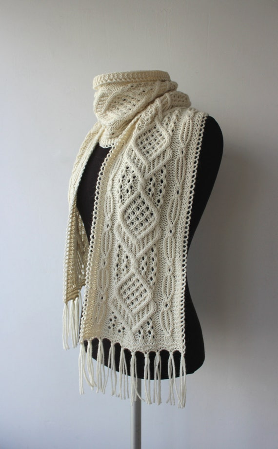 Knitting Pattern Light Scarf : Hand knitted winter scarf light Cream Scarf with Cable and