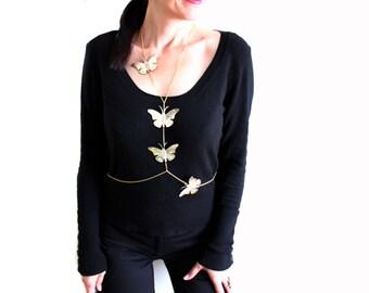 Gold butterfly body chain necklacw, Body harness, gold belly Chain, plus size body chain, layering body jewelry, Bikini Necklace
