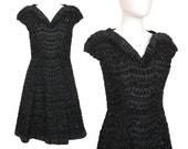 ULI RICHTER 1960s Vintage Evening Dress LBD Little Black Dress Cocktail Dress Black Lace Pleated Dress Size 6 Small