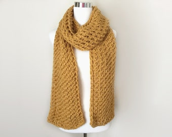 honey yellow chunky hand knit scarf gift or for you
