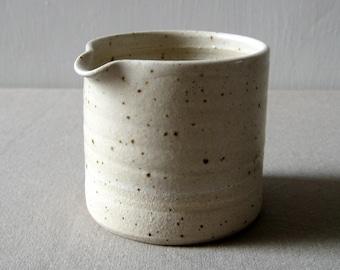 Modern Pourer, Speckle Stonware Jug, Oatmeal Glaze, Handthrown Rustic Pottery,