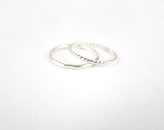 Sterling Silver Dainty Ring Set- Set of 2 Silver Rings