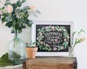Spring Decor - Chalkboard Sign - Spring Art - Happiness Blooms from Within - Tulip Art - Inspirational Print - Chalkboard Decor - Chalk Art