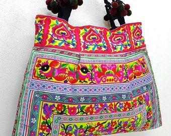 Thai Hill Tribe Bag Pom Pom Hmong Thai Bag Embroidered Ethnic Purse Bag Woven Bag Hippie Bag Hobo Boho Bag Shoulder Bag Green Yellow Violet