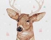 White Tailed Deer, Art Print, Deer Art Print, Poster, Children's Illustration, Kids Room Art - WHITE-TAILED DEER