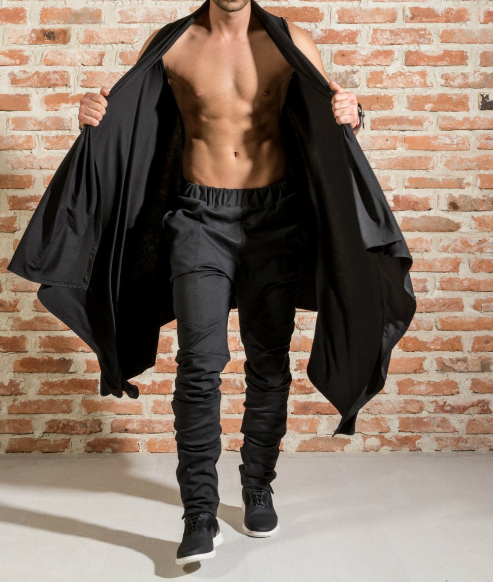 Draped mens cardigan / Sleeveless draped cardigan / Black