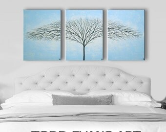 SALE Canvas Art Wall Art Wall Decor Wall Hangings Home Decor Tree Painting Bedroom Decor Light Blue Paintings 48x20 ORIGINAL Painting