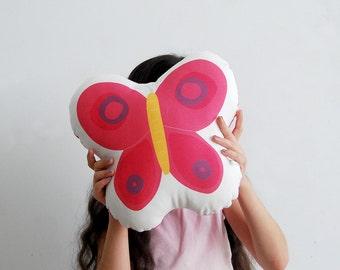 Stuffed toy, pink soft pillow, fuchsia butterfly, cotton, Decorative cushion, Children room, stuffed animal, baby room deco, nursery room
