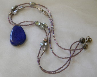 Lapis lazuli pendant w peacock baroque pearls & glass beads necklace , beaded jewelry , unusual jewelry , short double strand ,lapis jewelry