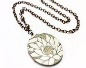 Floral locket necklace flower locket daisy necklace brass locket beaded necklace