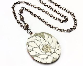 Floral locket necklace flower locket daisy necklace brass locket beaded necklace