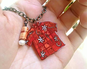 Hawaiian Shirt Necklace - Tiki Necklace - Red Vintage Floral Shirt - With Pearl Pendant