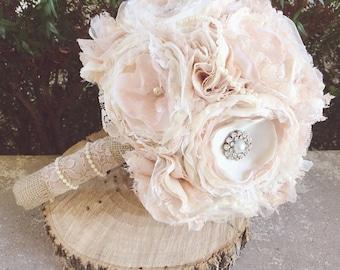 Blush Fabirc Bouquet , fabric flower bouquet, vintage fabric bouquet