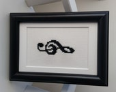 Framed Treble Clef Cross Stitch