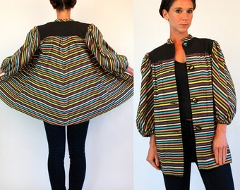 Vintage 30s Rainbow Chevron Woven Stripe Avant Garde Swing Jacket w/ Poet Sleeve. bohemian Cotton draped mini Dress Coat Extra Small - Small
