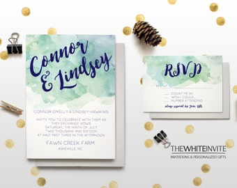 Mint & Navy Watercolor Wedding Invitation Set - Invitation RSVP Save the Date Table Numbers