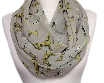 Dogs pattern Infinity scarf, Jack Russel, Dalmatian Terrier Dachshund Circle scarf, scarves, shawls, spring - fall - winter - summer fashion