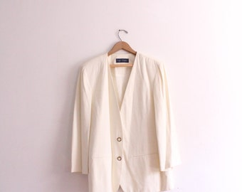 Minimal White Loose Blazer Jacket