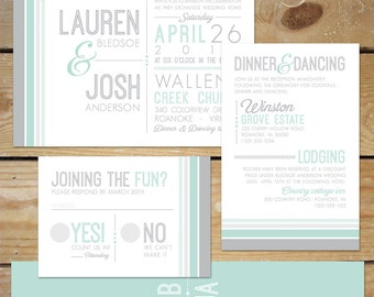 Modern Wedding Invitation Printable // Grey and Mint Wedding Invitation Printable // Simple Wedding Invitation Printable