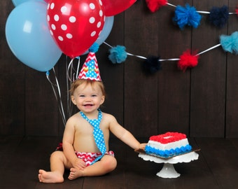 Baby Boy Cake Smash Set First Birthday Outfit Red Chevron